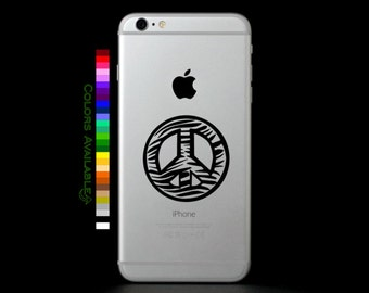 Zebra Peace Sign Outline Phone Decal