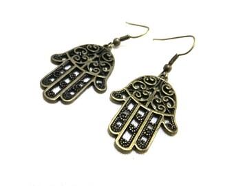 Bronze Hamsa Hand Earrings, Hamsa Earrings, Bronze Earrings, Protection Earrings,Evil Eye Jewelry,Hand Jewellery,Boho Earrings,Hamsa Jewelry