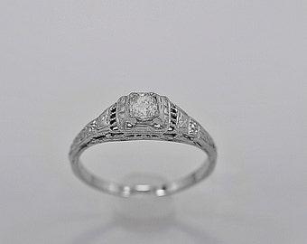 Antique Engagement Ring .25ct. Diamond & 18K White Gold Art Deco- J34104