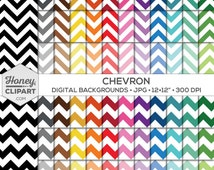 Chevron Digital Paper, Seamless Pattern Zigzag Backgrounds, Large Chevron Printable, Thick Chevron Stripes, Red, Pink, Blue, Black and White