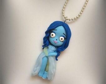 Necklace handmade polymer clay doll baby Tim Burton Corpse Bride
