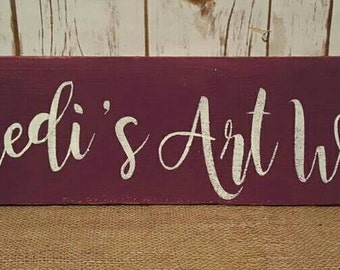 Customized child name sign 5.5 x 24 hand painted