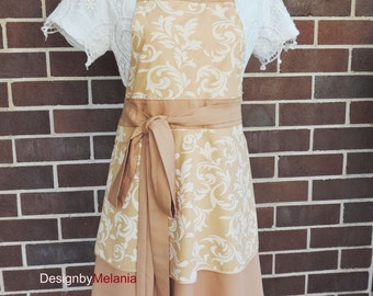 APRON, Reversible Beautiful Handmade Apron, Women Apron in Camel colour with White Damask - one size fits all