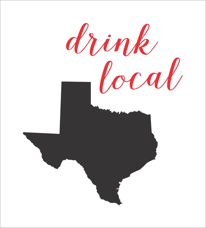Silhouette Texas Drink Local TEXAS Silhouette STENCIL script 6 sizes