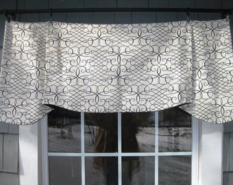 Valance Sterling Pleated Layered Window Treatment in Waverly Calligraphy Swirl Ink Scroll Fabric on Rings Ivory Living Kitchen Office Porch