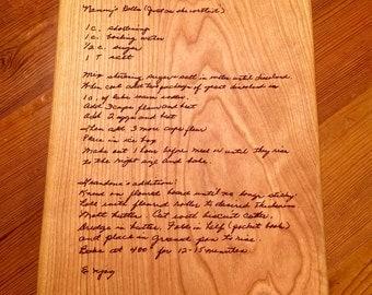 GRANDMOTHERS HANDWRITTEN RECIPE  Cutting Board Old Recipe Engraved