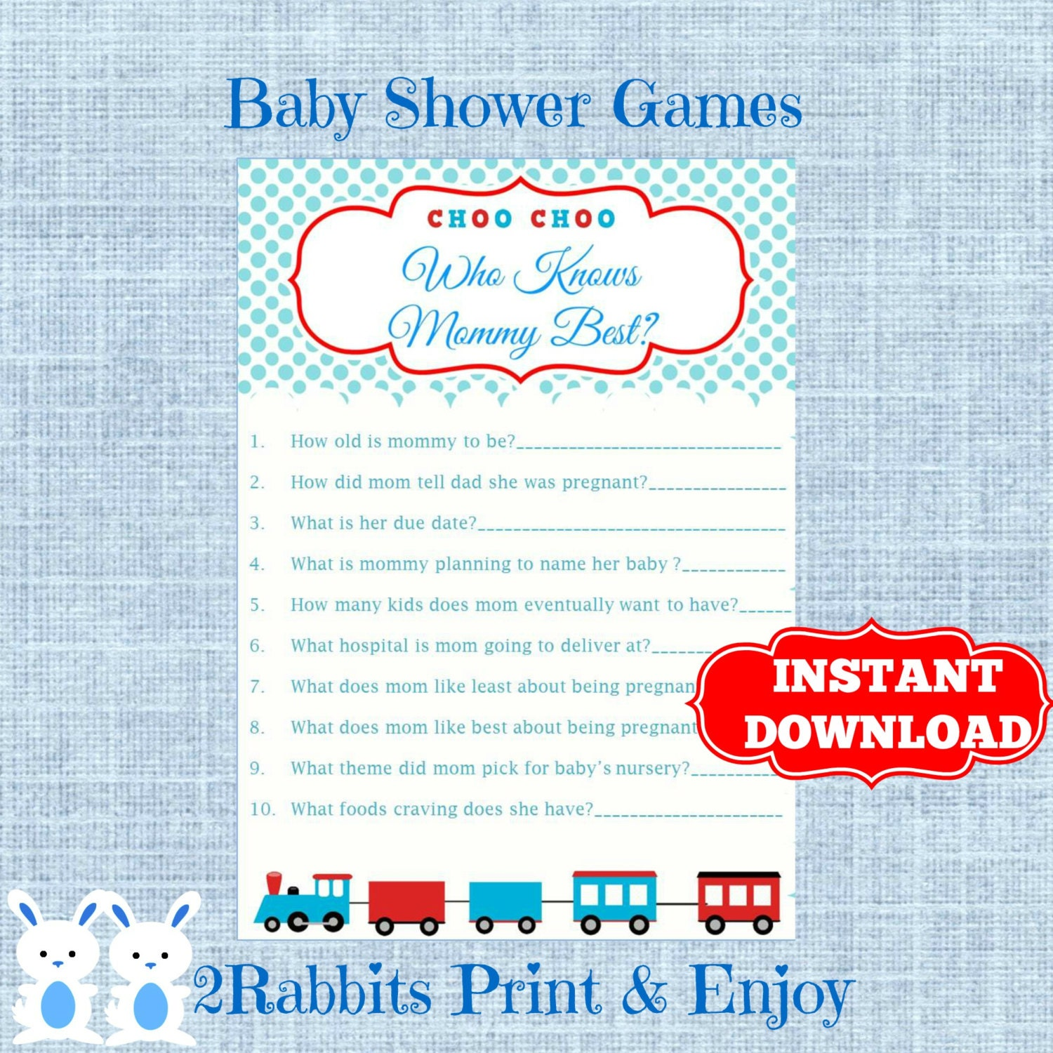 train baby shower game who knows mommy best transportation