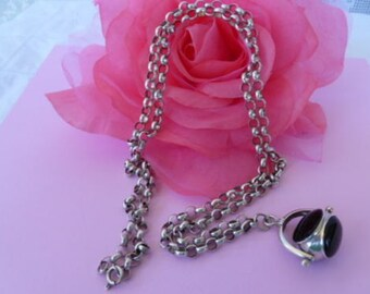 Antique Sterling Silver Onyx SPINNER Fob on HANDMADE & WELDED Belcher Chain