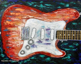 Fine Art Print - Abstract S- STYLE Guitar Print by Napolske Art Painting