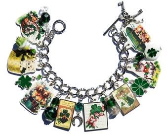 Handmade St. Patrick's Day Charm Bracelet Vintage Altered Art Cards Dog Kitten Ireland Shamrock Clover Lampwork Green Glass Metal Beads
