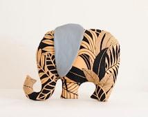 BIG tropical stuffed elephant pillow African jungle fabric