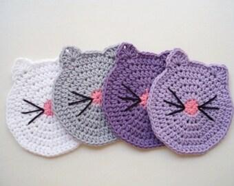Cat Face Coasters Crochet Cat Butt Cup Coasters Cat Coasters Mug coasters Pet coasters Drink coasters Tea Coasters Wedding coasters