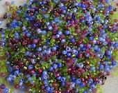 8/0 Miyuki Seed Bead Mix, 25 grams, Greens/Purples/Amethyst (0037)