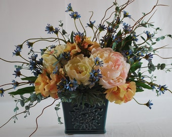 Country Chic Summer Flowers and Greeneries Silk Floral Arrangement, Home Decor, Ornament
