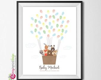 Woodland Fingerprint Hot Air Balloon Baby Shower/Birthday Guest Book  Bear Deer Fox Racoon Moose Rabbit DIY (Digital File)