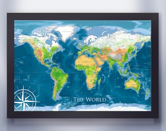 The Ultimate World Map - Bright Color Edition | Framed Wall Map or Pin Map | Modern World Map | Personalized Map | Customized Map