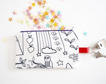 Pensil case to color. Choose a color of fabric marker. Artistic gift. Customize your style. Hook for key.