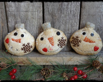 Primitive Snowmen Ornies, Christmas Tree Ornaments, Bowl Fillers, Gift Tag, OFG FAAP