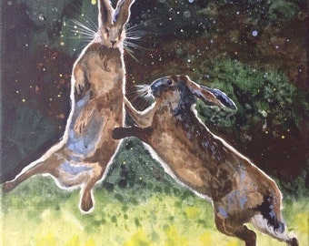Boxing Hares - original acrylic painting box canvas 30 x 40cm