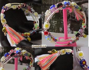 Jewelry Cuff Bracelet memory wire lampwork beads millefiori glass beaded tassel shape memory