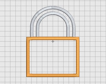 Padlock Shackle Applique Embroidery Design in 3x3 4x4 5x5 6x6 and 7x7 Sizes