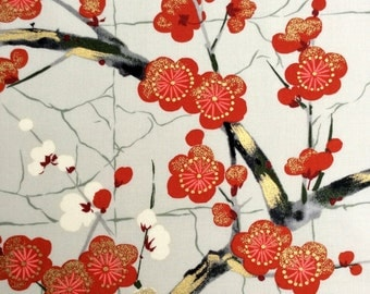 Fabric,  Golden Garden in Gray , Japanese Blossoms, Alexander Henry Asian Indochine, By The Yard