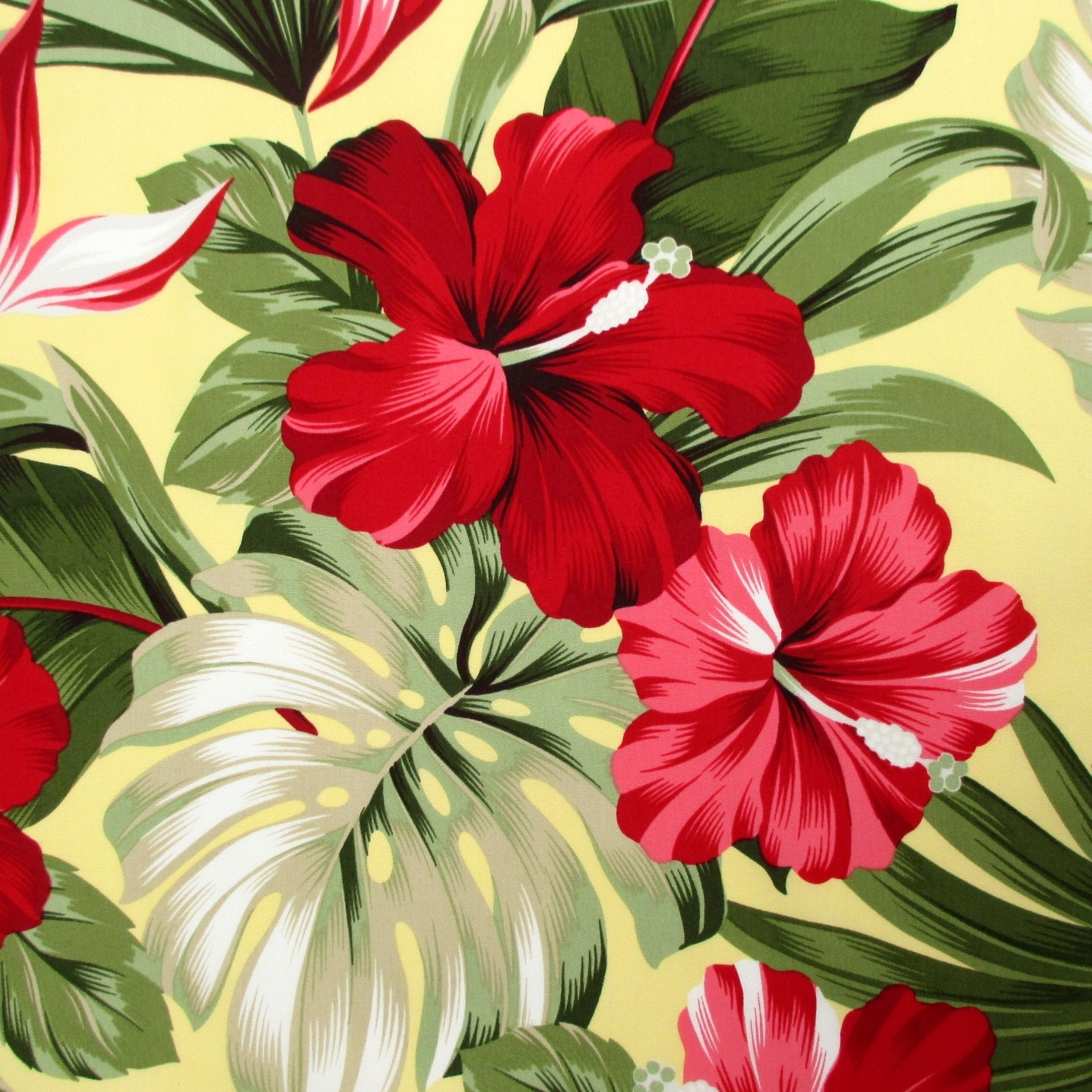 Flowers Made Black Brids: Fabric Red Hibiscus Floral On Yellow Tropical Hawaii Bird