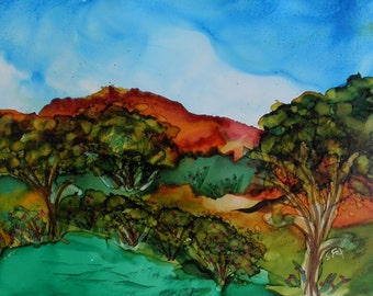 Painting Ink Landscape original 5x7 alcohol ink landscape on yupo painting #224