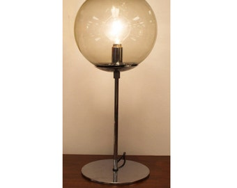 Mid Century Modern Smoked Glass Orb Globe Chrome Base Table Lamp By DBGM