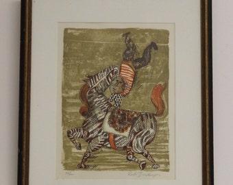 Vintage Mid Century Modern Rodo Boulanger Original Block Print 83/200 Circus