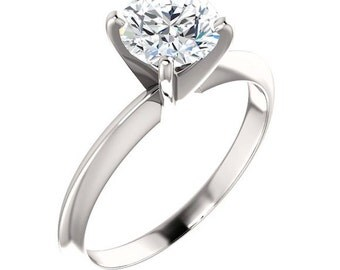 Moissanite Engagement Ring,  1 Carat Diamond Alternative, Recycled Gold
