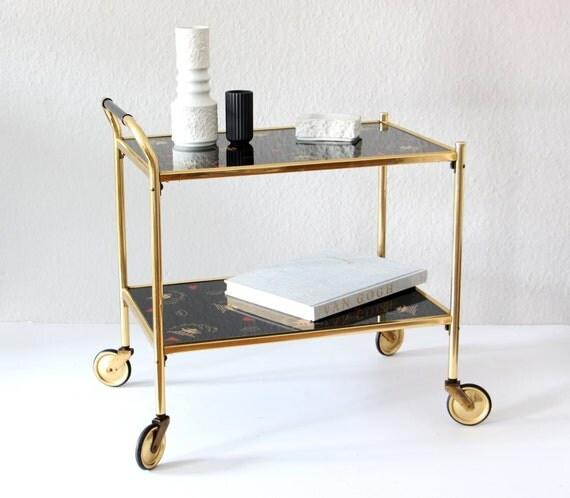 vintage teewagen dinett 1960er jahre messing glas home decor. Black Bedroom Furniture Sets. Home Design Ideas