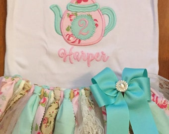 Pink, Mint, and Ivory Tea For Two Birthday Tutu Outift