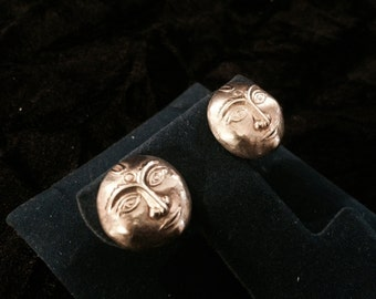 Vintage Sterling Silver Puffy Sun Face Earrings