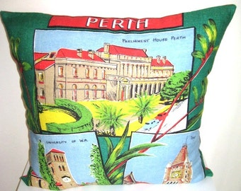 Perth Cushion made from a Vintage 1950's Tea-towel