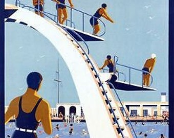Vintage Trouville France Tourism Poster A3 Print