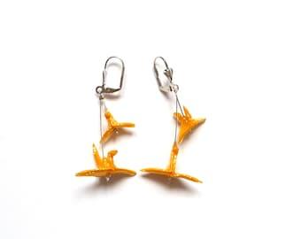 Origami Boucles d'oreilles Grues Orange