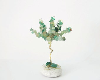 Green agate wire tree, Fathers day, Mini gem tree, Gemini birthstone, Taurus Birthstone, crystal healing, Crystal ornament, Wire sculpture