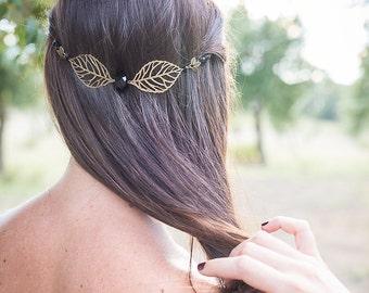 """Headband """"Luce II"""" pearls black crystal, and sheets"""