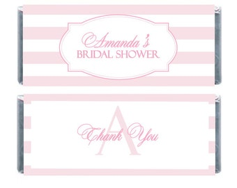 Personalised Candybar Wrappers, Bridal Shower Wrapper, Pink Striped Wrappers, Baby Shower Candybar Wrapper