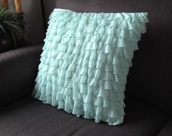 Mint Ruffle Pillow Cover