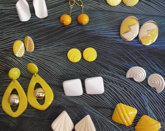 12 Pair Lot of 1980s Earrings Yellow and White Variety Clip-Ons,Studs