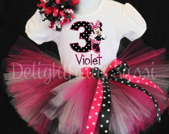Minnie Mouse Birthday Tutu, Disney Birthday Tutu, Personalized Birthday Tutu, Pink and Black Tutu, Tutu Outfit