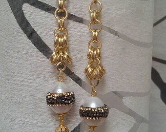 Pearl Earrings and micro rhinestones