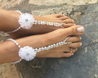 Crystals flowers barefoot sandals..wedding pearls barefoot sandals..carnival costumes pearls barefoot sandals..bridesmaid gift..