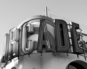 Arcade, Neon Sign, Belmont Park, San Diego, Black & White Print Photograph