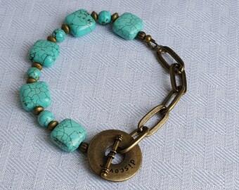 Blue Magnesite Vintage Antique Gold Chain Bracelet