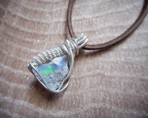 Sterling Silver + Opal // wire wrapped opal, wire wrap pendant, heady pendant, wire wrapped stone, opal necklace, wire wrap necklace
