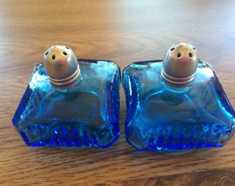 Blue Glass Salt and  Pepper Shakers