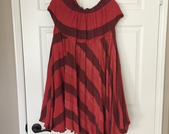 Vintage 70s rust colored striped boho hippie upcycled trapeze dress-free size